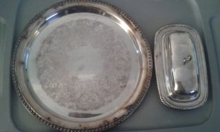 Vintage Lot Wm Rogers Butter Dish Glass Insert Serving Tray Must See photo