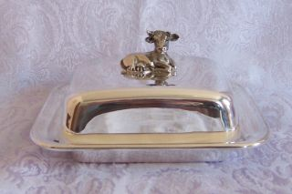 Silverplate Butter Dish Cow Finial Made By Fink Of Germany Glass Liner photo