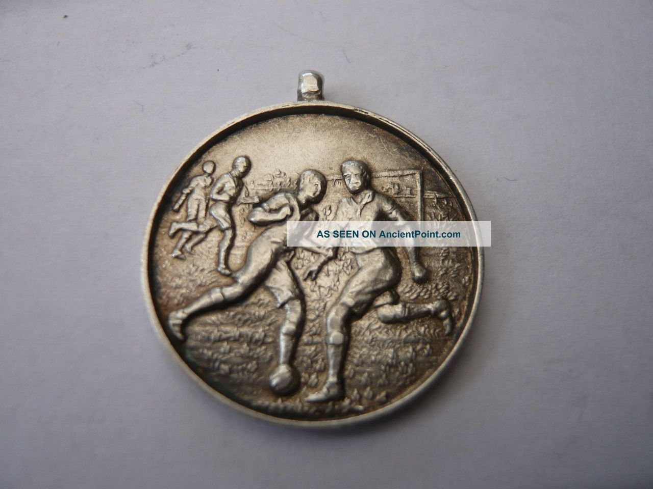 Good Vintage Sterling Silver Pocket Watch Chain Fob Medal Football 1930,  S Bucks Pocket Watches/ Chains/ Fobs photo