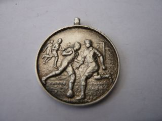 Good Vintage Sterling Silver Pocket Watch Chain Fob Medal Football 1930,  S Bucks photo
