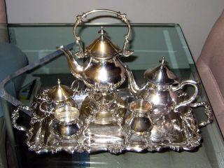 Vintage Silverplate Tea Set Tilting Teapot Coffee Pot,  Sugar,  Creamer,  Waste Tray photo