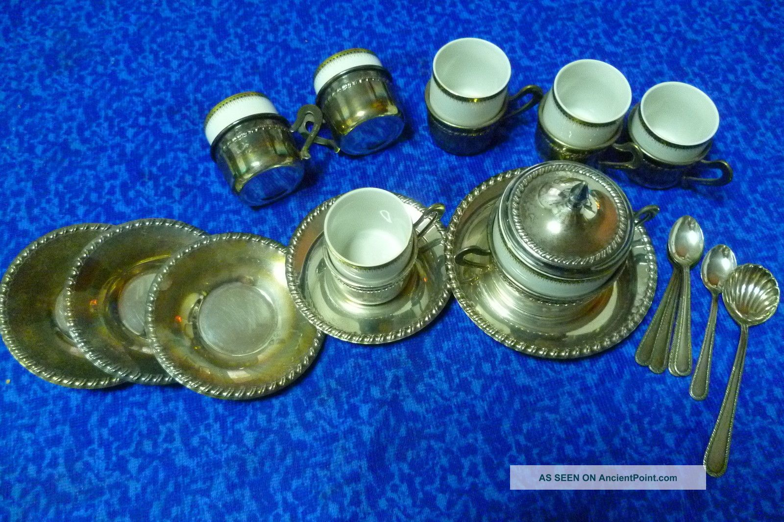 Estate Vintage Italian Solid 1000/1000 Silver Coffee Set For Six 1.  340gr Silver. Other photo