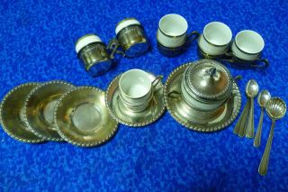 Estate Vintage Italian Solid 1000/1000 Silver Coffee Set For Six 1.  340gr Silver. photo