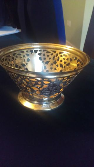 Vintage Russian Blackened Silver 875 / Gold Gilded Pierced Candy Bowl photo