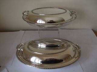 Vintage Silver Plate Pair Oval Entree Dish With Side Handles By Walker & Hall photo