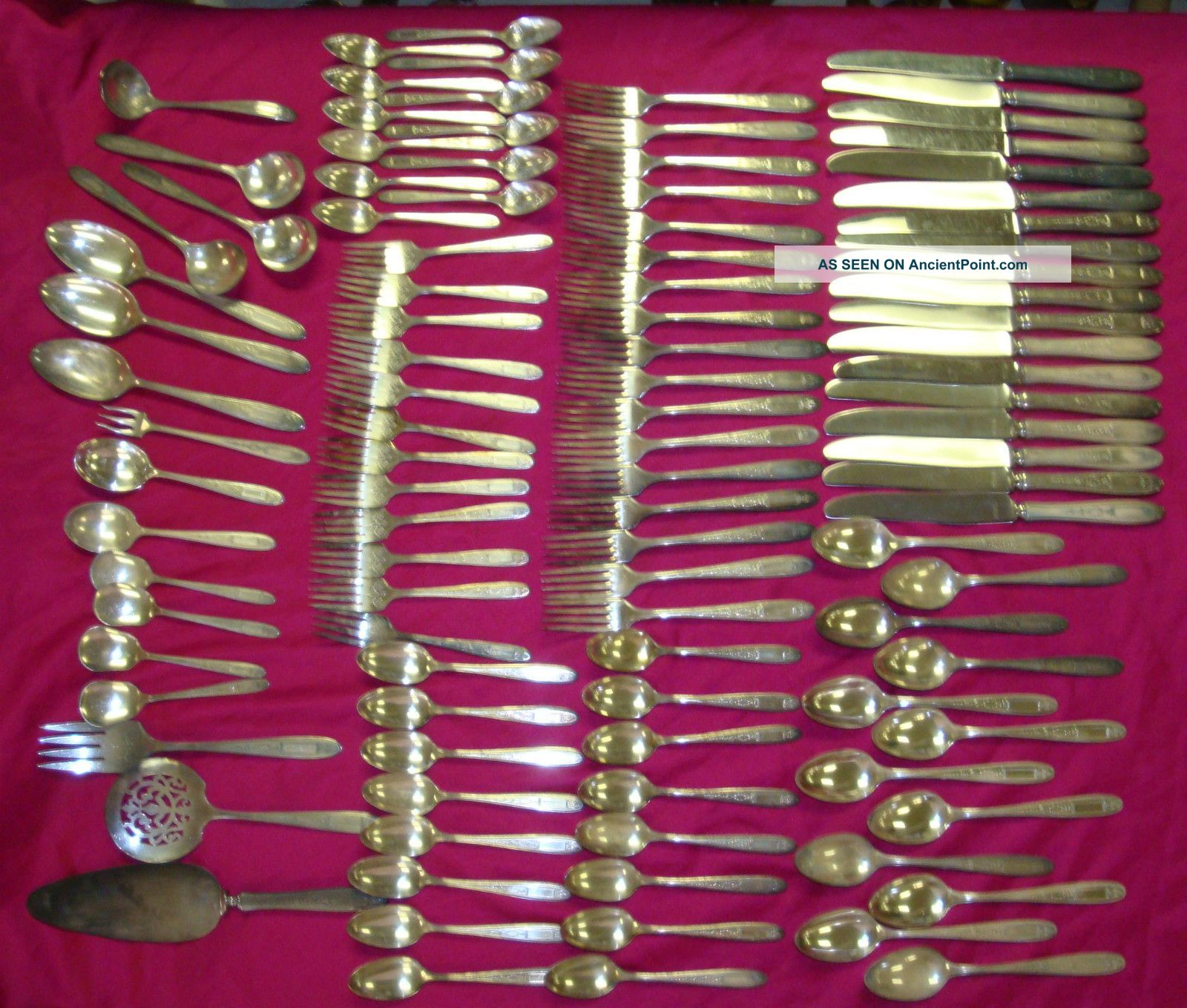 105 Piece Flatware Service For 12+ Extras Oneida Community Silver Plate Monogram Oneida/Wm. A. Rogers photo