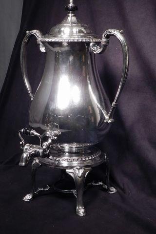Antique Silver Plated Copper Coffee Urn Samovar Tea Pot Classical Bakelite Knob photo