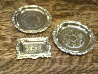 Pair Of Silverplate Coasters/dishes And A Tiny Silverplate Tray photo