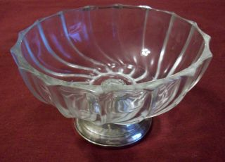 Sterling Silver 925 Weighted Duchin Base & Glass Compote photo