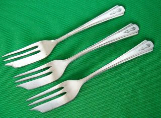 Antique King George Vi Coronation Silver Plated Dessert Forks - Excellent Cond. photo