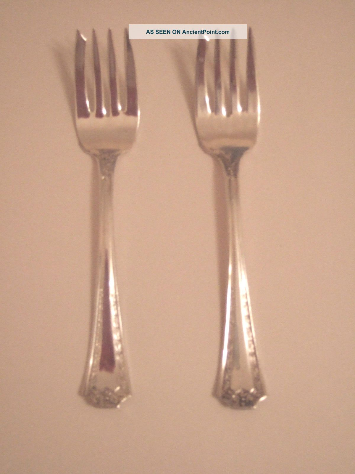 Two Silverplate Salad Forks In Seb Two Pattern National photo
