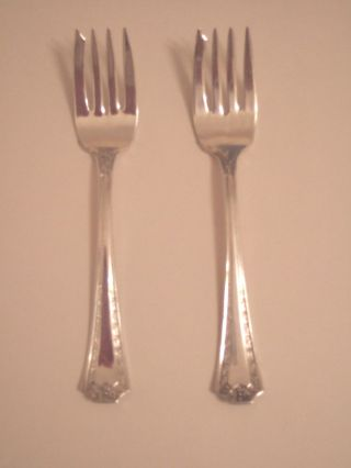 Two Silverplate Salad Forks In Seb Two Pattern photo
