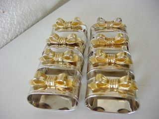 Antique Silver Plated & Gold Plated Bow Napkin Holders Set Of 8 Polished So photo