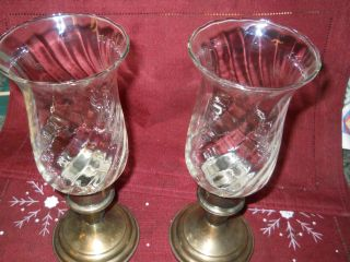 Vintage Rogers Silver - Plated - Candle Holders W/crystal Globes photo