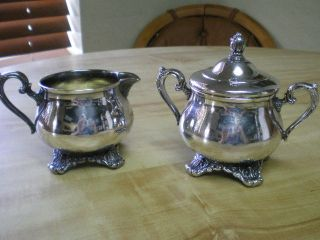 Victorian Rose Sugar & Creamer Set - Silverplate Wm Rogers & Son 1903 & 1904 photo