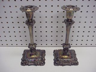 Pair Ornate Old Sheffield Usa Silverplate Candlesticks 9.  5