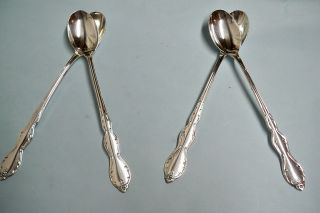 4 Camelot Melody Ice Teaspoons - 1964 Rogers Floral - - Clean & Table Ready photo