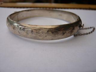 Vintage 1960,  S Solid Sterling Silver Bangle Bracelet Hm 1967 Quality photo