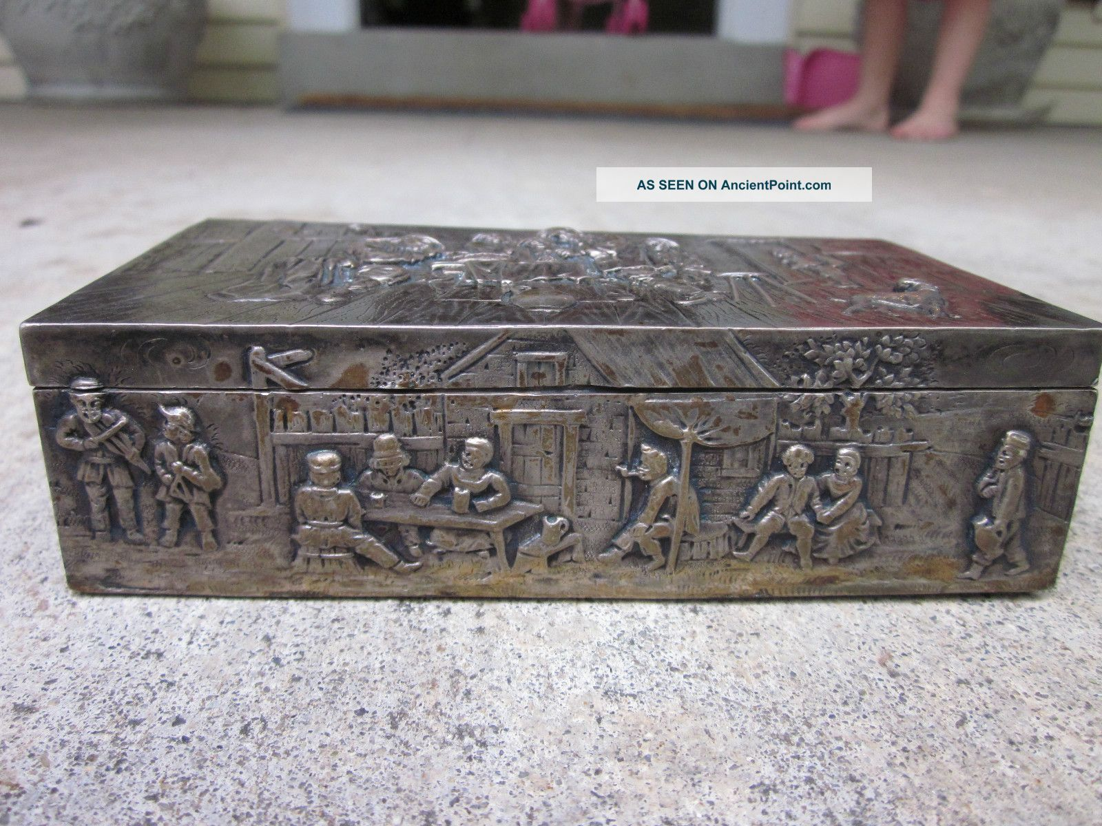 German Repousse Silver 800 Hallmarked Box Other photo