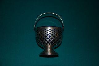 Vtg.  Tiffany & Co.  Sterling Silver 157g Sugar Basket Bowl W Cobalt Blue Antique photo