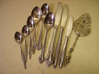 Vintage Roses Serving Mix Lot Silverplate Silverware Flatware Dinnerware 10pc photo