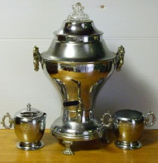Vintage La Belle Silver Co.  Coffee Urn + Creamer & Sugar photo