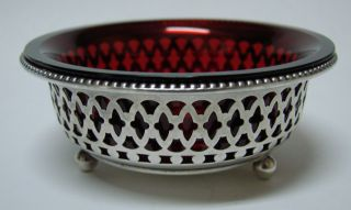 Gorham Sterling Silver & Cranberry Glass Open Salt Cellar Dish 1900 photo