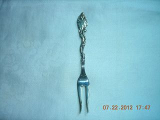 Vintage Silver Pickle Fork From Sweden - Lady With Fan On Handle photo