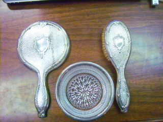 Antique 3 Piece Vanity Set - Silver Plate Brush & Mirror / Silver Rimmed Duster photo