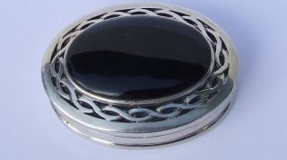 Vintage C1980 ' S - 90 ' S Sterling 925 Silver Celtic Knot & Obsidian Oval Pill Box photo
