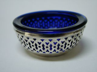 Webster Sterling Silver & Cobalt Glass Open Salt Cellar Dish Dip 1900 - 1920 photo