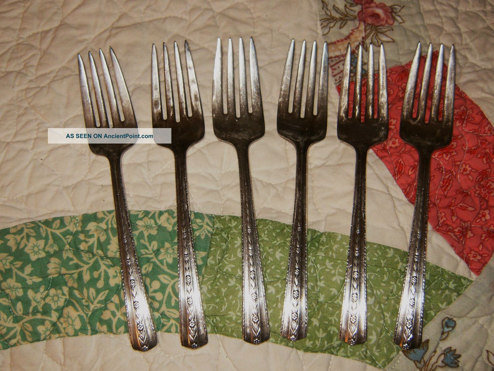 Set of 3 Antique Wallace 1938 ROSEANNE DessertSalad Fork 6 18