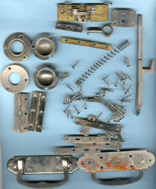 Antique Hinges,  Lock And Misc From A 1927 Birks Sterling Silverware Box photo