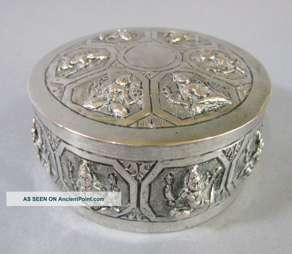 Vintage Thai Southeast Asian Silver Box Indonesian Asia photo