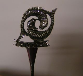 Salt Spoon Zodiac (pisces) Solid Sterling Silver photo