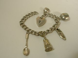 Child ' S Sterling Silver Charm Bracelet With 5 Charms & Padlock Clasp photo