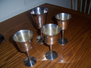 4 Vintage Silverplate Wine Goblets/cups - photo