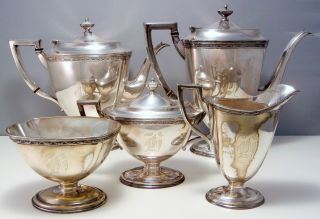 Homan Silver Plate 5 Piece Tea Set photo