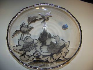 Rockwell Crystal Sterling Silver Overlay Footed Plate Marked photo