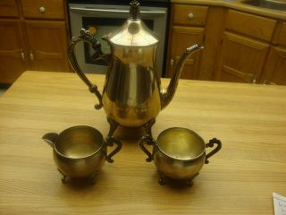 3 Piece Leonard Silverplate Coffee Pot Service Set photo