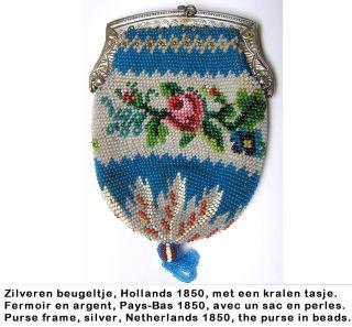 Silver Purse Bag 1850,  Dutch,  Beugeltas Zilver Kralen,  Fermoir Argent Sac Perles photo