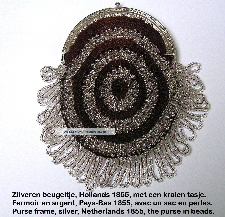 Silver Purse Bag 1855,  Dutch,  Beugeltas Zilver Kralen,  Fermoir Argent Sac Perles Other photo