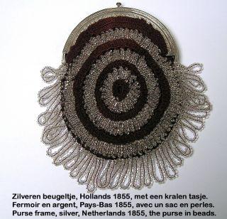 Silver Purse Bag 1855,  Dutch,  Beugeltas Zilver Kralen,  Fermoir Argent Sac Perles photo