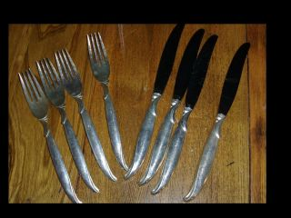 Vintage Rogers 1847 Is Flatware Flair Pattern 4 Dinner Knives & 4 Dinner Forks photo