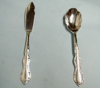 Camelot Melody Sugar Spoon & Master Butter - 1964 Rogers - Clean & Table Ready photo