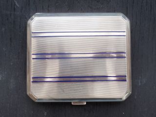 Art Deco Hallmarked Solid Silver Enamel Geometric Design Cigarette Card Case photo