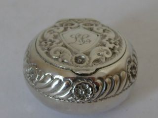 Victorian Repousse Silver Snuff Box Birm 1895 Floral Decoration Initials L C photo