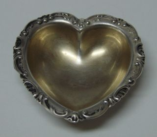 Unique Dominick&haff Sterling Silver Heart Shaped Open Salt Cellar Dish 1890 photo
