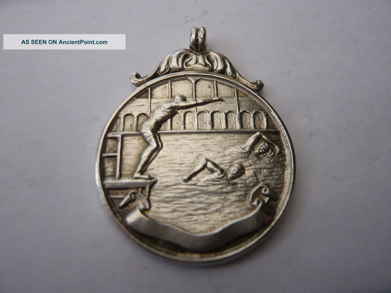 Good Vintage Silver Pocket Watch Chain Fob Medal Swimming Hms Valhalla 1920,  S Pocket Watches/ Chains/ Fobs photo