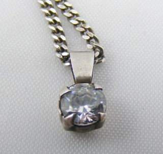 Vintage Solid Silver Diamond Like Gem Set Pendant And Necklace Chain photo